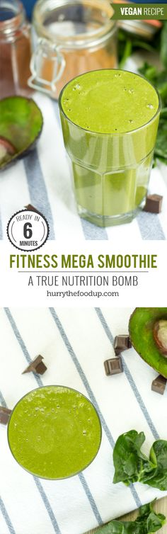 Fitness Mega Smoothie. A True Nutrition Bomb #smoothie #vegan | hurrythefoodup.com