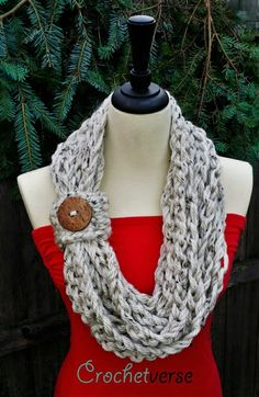 Make this fast-finish scarf with just 2 skeins of Hometown USA (pictured in aspen tweed)! No crochet hook required! Learn to finger crochet with Crochetverse!