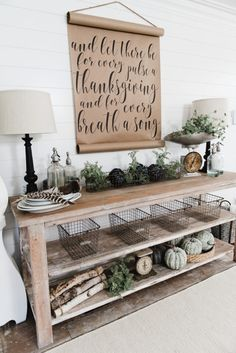Lamps for dining room buffet? DIY Farmhouse Dining Room buffet - Could be a great TV console, sofa table, entryway table, kitchen island, & so much more! Great tutorial and farmhouse style decor inspiration! Rustic Farmhouse Entryway, Farmhouse Table, Modern Farmhouse, Vintage Farmhouse, Farmhouse Front, Rustic Buffet, Kitchen Modern, Country Farmhouse, Farmhouse Baskets