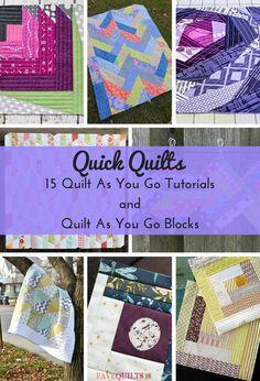 Quick Quilts: 15 Quilt As You Go Tutorials and Quilt As You Go Blocks Rag Quilt Patterns, Jelly Roll Quilt Patterns, Modern Quilt Patterns, Sewing Patterns, Quilt Studio, Quilting Projects, Quilting Designs, Quilting Tips, Sewing Projects