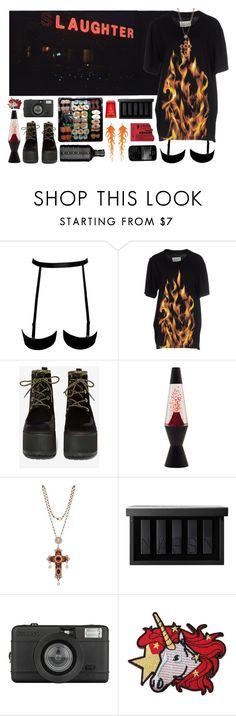 """""""389 ~I see a red door and I want it painted black~"""" by snake-eyes-and-sissies ❤ liked on Polyvore featuring Maison Margiela, T.U.K., Thot, NARS Cosmetics, Lomography, Guide London, Lauren Conrad and WALL"""