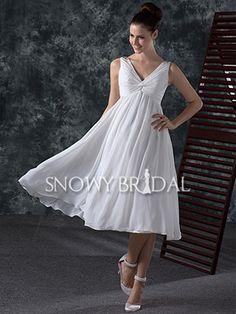 White A-Line Tea Length Chiffon V Neck Sleeveless Corset Wedding Dress - US$ 84.59 - Style W0646 - Snowy Bridal