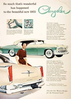 1955 Chrysler New Yorker Deluxe Coupe original vintage advertisement. Available with either the 188 h.p. Spitfire or the 250 h.p. Fire Power engines.