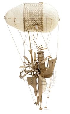 Imaginative Industrial Flying Machines Made From Cardboard by Daniel Agdag steampunk, miniature, balloon, industrial, fantasy Steampunk Kunst, Steampunk Airship, Dieselpunk, Cardboard Sculpture, Cardboard Art, Sculpture Art, Cardboard Model, Metal Sculptures, Abstract Sculpture
