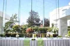 Green wedding head table