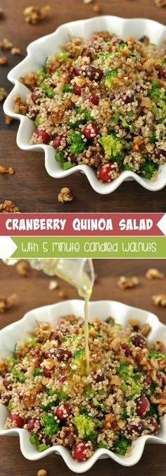 Cranberry Quinoa Salad: fluffy quinoa salad is spiked with juicy cranberries, vibrant veggies and topped with homemade honey and brown sugar walnuts! This recipe is colorful and delicious!