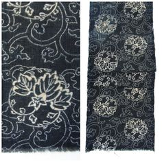 Antique Indigo. Hand Loomed Japanese Katazome Cotton. Aizome Stencil Design (Ref: 647)