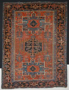 ANTIQUE HAND KNOTTED PERSIAN HERIZ KARAJA RUG RUST & TURQUOISE  size 4'6x5'9 #Persian