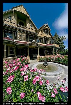 Roses and facade. Winchester Mystery House, San Jose, California, USA been there done that and none of the ghosts got me
