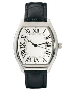 Black asos leather silver dial watch