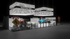 205 Baumaschinen Bolten Heavy Gear | Ansprechender Messestand für einen Hersteller von Baumaschinen.   Die abgehängten Leuchtelemente, umlaufend mit Firmenlogo bedruckt, machen den gro�...