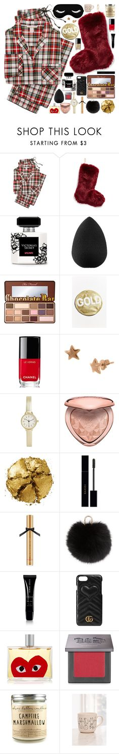 """""""#PolyPresents: Stocking Stuffers"""" by douxlaur ❤ liked on Polyvore featuring Victoria's Secret, Nordstrom, beautyblender, Too Faced Cosmetics, Urban Outfitters, Chanel, BKE, Pat McGrath, Gucci and Yves Salomon"""