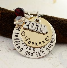 Graduation Necklace 2014 - Personalized Graduation Gift, High School College, Class of 2014, Hand Stamped Necklace