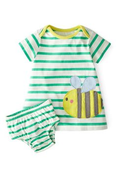 Mini Boden Stripy Appliqué Short Sleeve Dress (Baby Girls) | Nordstrom