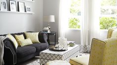 Yellow and Black Living Room with Black and White Trellis Ottoman - Contemporary - Living Room Living Room Accessories, Home Decor Accessories, Living Room Decor, Living Spaces, Condo Living, Bedroom Decor, Wall Decor, White Trellis, Black And White Living Room