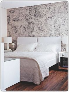 want to wallpaper one wall in my bedroom so bad! something like this but a with a bold colour on the wallls