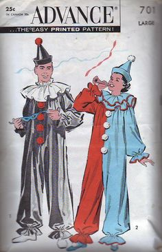 vintage costume patterns | Advance Pattern 701 Vintage Clown Costumes for Adults. This includes ...