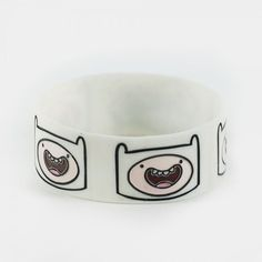 Cartoon Network ADVENTURE TIME FINN White Rubber Bracelet... ($9.99) ❤ liked on Polyvore featuring jewelry, bracelets, rubber bracelets, rubber bangles, white bangle, wristband jewelry, cartoon network and rubber jewelry