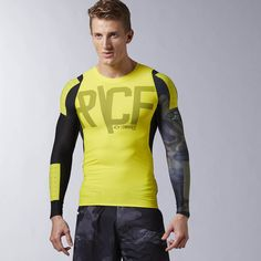 Reebok CrossFit PWR6 Long Sleeve Compression Top, Shirt, gelb, yellow,  Fitness Fashion