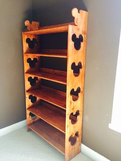Disney Mickey Mouse DIY Bookcase with Mickey Mouse cutouts