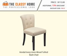 Kendal Ivory Linen Wood Tufted Back Chair