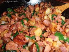 Kielbasa Skillet Supper  5 strips of bacon, sliced up 4 large red potatoes, cut into bite size cubes (I leave the skin on) 1 large carrot, peeled and chopped 1 med. onion, chopped 1 jalapeno, seeded and diced 1 lb. kielbasa, sliced * 3-4 good handfuls of fresh baby spinach 1 tsp. my house seasoning (equal parts garlic powder, onion powder and pepper...combine and store in an airtight container) 1/2 tsp. smoked paprika good pinch of salt  In a large skillet, cook the bacon up until nice and…