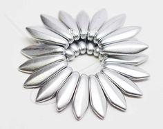 5x16mm Silky Silver Daggers @ www.bonbeads.com