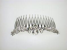 Wedding Hair Comb - Thea Bridal Hair Comb with Rhinestones - Bridal Headpiece Hair Comb Wedding, Wedding Hair And Makeup, Bridal Hair, Bridal Headpieces, Bridal Accessories, Hair Pins, Headbands, Wedding Hairstyles, Swarovski Crystals