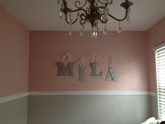 DIY nursery letters - wooden letters fr AC Moore - mod podge scrapbooking paper - hang with lace ribbon!