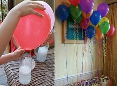 No helium needed to fill balloons. just vinegar and baking soda! No helium needed to fill balloons for parties.just vinegar and baking soda! I NEED TO REMEMBER THIS! this is important since helium is not a renewable source and is in such short supply Blowing Up Balloons, Helium Balloons, Helium Gas, Flying Balloon, The Balloon, Floating Balloons, Turtle Party, Ideas Para Fiestas, Diy Projects To Try