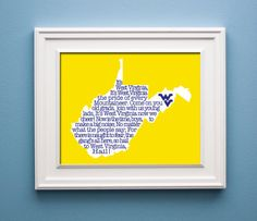 Hail West Virginia  Mountaineer State Print by KenmoreHouse, $12.00