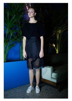 EMBRACE BRAND | SS16 Lookbook | Black Sheer Skirt | Black Cut Out Long T-shirt | Contemporary Fashion