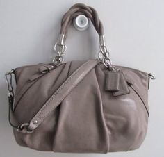 Coach Madison Pleated Leather Sophia Handbag Purse Flint 22563