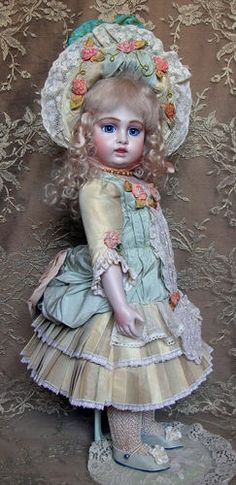 Antique Reproduction Doll Emily Hart Mary Lambeth Costume Crescent Bru | eBay