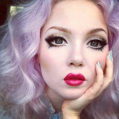 lavender hair & doll eyes make-up.really need to buy a pair of circle lens again Beauty Doll Eye Makeup, Gyaru Makeup, Anime Makeup, Costume Makeup, Makeup Art, Makeup Tips, Beauty Makeup, Hair Makeup, Cute Doll Makeup