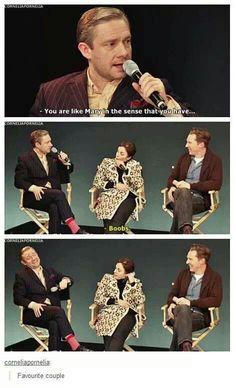 Martin Freeman, Amanda Abbington & Benedict Cumberbatch <---Martin's face at the end! Sherlock Bbc, Sherlock Fandom, Sherlock Quotes, Jim Moriarty, Watson Sherlock, Johnlock, Benedict Cumberbatch, Amanda Abbington, Benedict And Martin