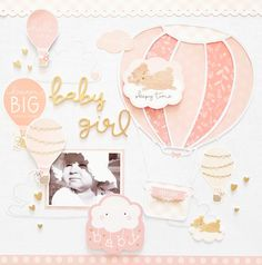 Pebbles DT: Night Night collection: Baby Girl layout by Amanda Baldwin