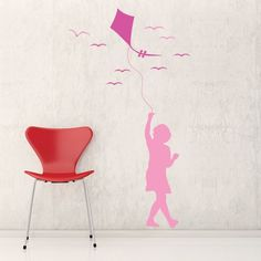 Kids Wall Decal Lola And Her Kite Runner. Make your kids' fantasies come true with these giant Bubble Boy wall stickers, $49.99 http://www.coolwallart.com/kids-wall-decal-lola-and-her-kite-runner.html