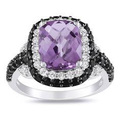 Miadora Sterling Silver Amethyst and Multi-gemstone Ring