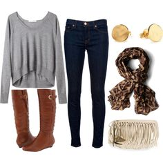I love baggy shirts with skinny jeans and boots! Plus the fun cute scarfs are always a plus!