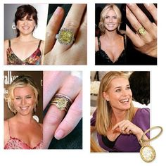 A collage made by the American Gem society about the growing trend for yellow diamond engagement rings. It includes celebs like Kelly Clarkson, Rebecca Romijn and Heidi Klum Yellow Diamond Engagement Ring, Rebecca Romijn, Canary Diamond, Celebrity Engagement Rings, Engagement Celebration, Colored Diamonds, Yellow Diamonds, My Collection, Heidi Klum