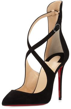 Christian Louboutin Marlenarock Crisscross Suede Red Sole Pump, Black | #Chic Only #Glamour Always