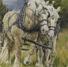 """Power of Two by Carla D'Aguanno by Artists of the American West Oil ~ 30"""" x 30"""""""