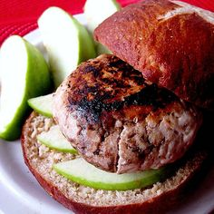 Brie and Granny Smith Turkey Burgers on Homemade Pretzel Rolls