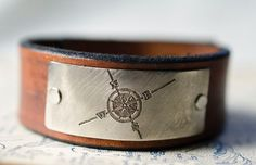 Compass Rose Leather Snap Cuff with Engraved Metal by Cjohannesen, $25.00