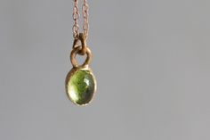 High dome honey comb cut natural peridot 6x8 MM in 14k rose gold and 14k chain.   bridal gift bridesmaid gift mothers day
