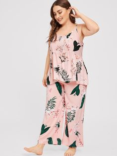 Shop Plus Floral Print Cami Pajama Set online. SHEIN offers Plus Floral Print Cami Pajama Set & more to fit your fashionable needs. Bridesmaid Dresses Plus Size, Plus Size Dresses, Plus Size Outfits, Wedding Dresses, Plus Size Womens Clothing, Plus Size Fashion, Clothes For Women, Sleepwear Women, Pajamas Women