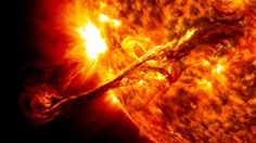 Sun eruption A solar flare is a sudden brightening observed over the Sun's surface. This picture captured by the NASA's Solar Dynamics Observatory  illustrates one of these beautiful prominences. This phenomena sent out particles and a third radiation belt that traveled near Earth a few days later.