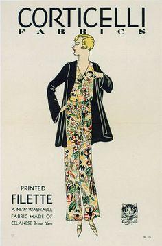 1920's Corticelli Silk Fabric Vintage Art Deco Fashion Poster