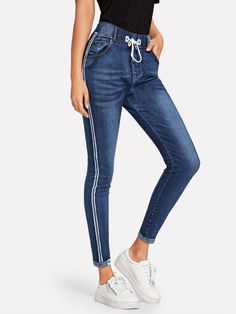 To find out about the Tape Detail Drawstring Waist Jeans at SHEIN, part of our latest Jeans ready to shop online today! Jeans Pants, Denim Jeans, Jeans Dress, Trousers, Latest Jeans, Type Of Pants, Striped Jeans, Jeans Skinny, Jeans For Sale